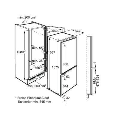 zanussi zbb 25431 sa k hl gefrierkombination nische 158 zanussi k hlger te nieschenh he. Black Bedroom Furniture Sets. Home Design Ideas