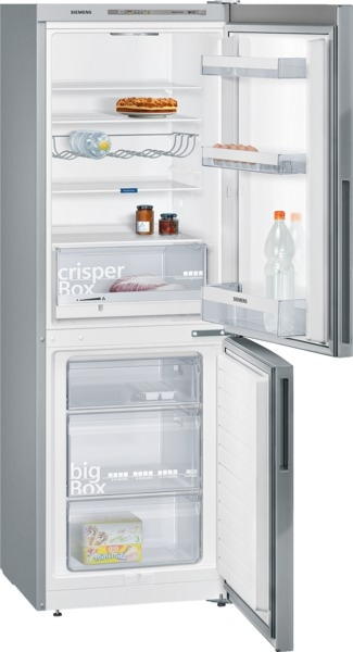Siemens KG33VVL31 Kühl-Gefrier-Kombination Türen Edelstahl-Look, Seitenwände silberfarben I