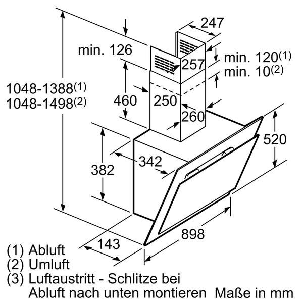 siemens lc98ka671 schwarz schwarz mit glasschirm 90 cm wand esse siemens diagonal wandessen. Black Bedroom Furniture Sets. Home Design Ideas